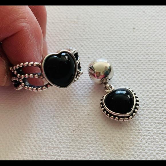 1723710a3dc30 Pandora Sterling Silver Mi Amor Black Onyx Set